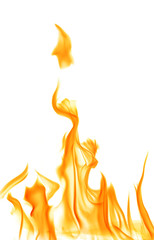 yellow flame sparks isolated on white