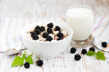 Bowl of muesli with blackberries