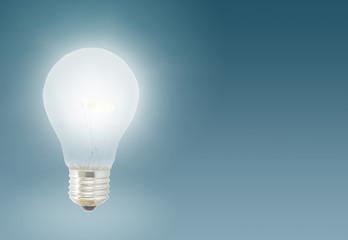 one Illuminated light bulb