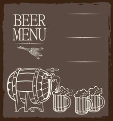 Menu for beer keg and glasses