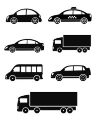 black isolated cars set