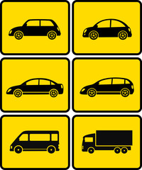 isolated cars on yellow buttons