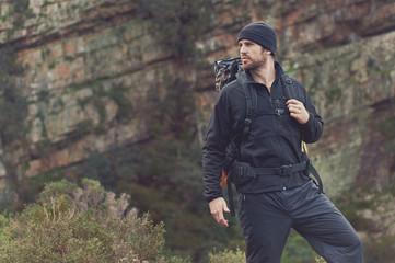 mountain trekking man Wall mural