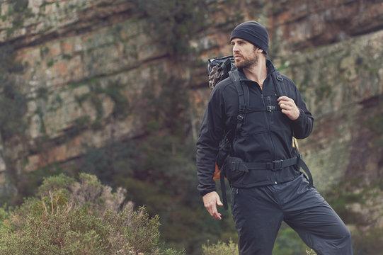 mountain trekking man