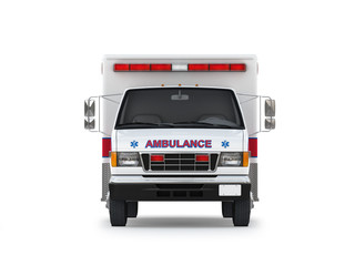 Ambulance Car Isolated on White Background. Front View