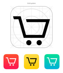 Empty supermarket shopping cart  icon.