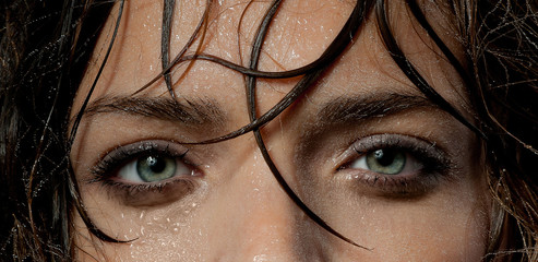 wet woman's face, eyes