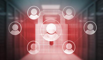 Digitally generated social media icons over lock in red light