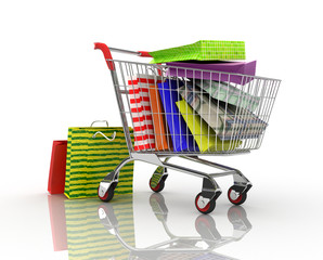 Shopping trolley with colorful shopping bag