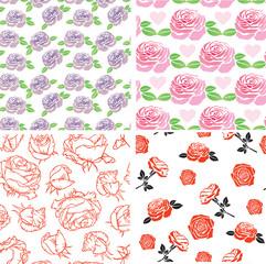Roses seamless pattern set