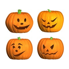 four 3D halloween pumpkins with white background