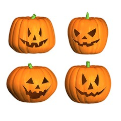 four 3D halloween pumpkins with black background