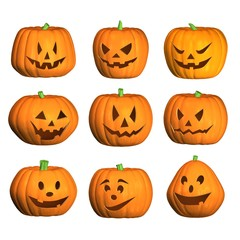 nine 3D halloween pumpkins with white background