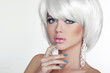 Fashion Sexy Blond Woman Portrait with White Short Hair. Luxury