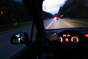 Fototapete - Night drive on the street