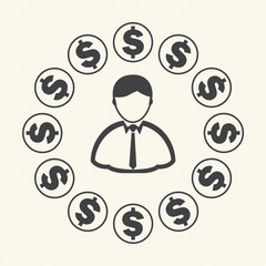 Money around Businessman. Vector