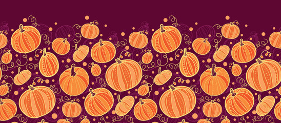 vector Thanksgiving pumpkins horizontal border seamless pattern
