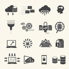 Data management and analytic icons set. Vector
