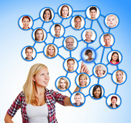 Wall Mural - Woman selecting friends and family in social network