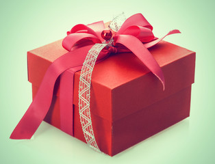 Red gift box with decorative bow