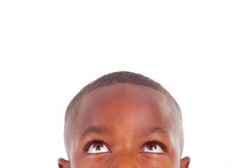 African American boy looking up  - Black people