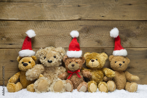weihnachtskarte mit teddy b ren als familie stockfotos und lizenzfreie bilder auf. Black Bedroom Furniture Sets. Home Design Ideas