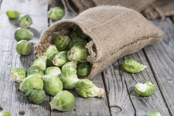 Small portion of raw Brussel Sprouts