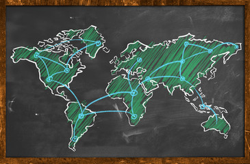 World map networking green chalk wallpaper