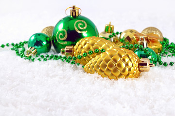 Golden and green Christmas decorations