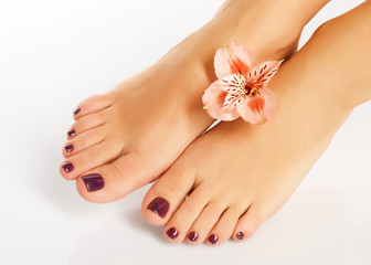 Wall Murals Pedicure female feet with beautiful pedicure after spa procedure