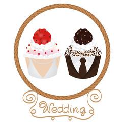 wedding cupcakes bride and groom