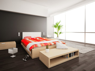 Bedroom interior with double bed with red and orange duvet