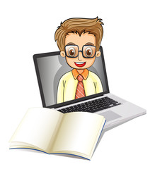 A laptop with a smiling man wearing glasses