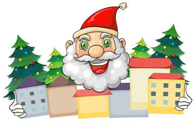 A smiling Santa hugging the village