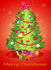 A christmas card with a giant christmas tree with many decoratio