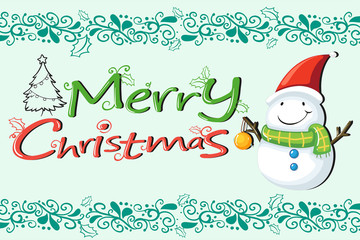 A christmas card with a snowman with a green scarf