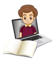 A man inside a laptop beside an empty paper