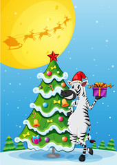 A zebra beside the tall christmas tree
