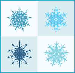 Cute Snowflakes with Ice Background