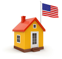 House and US Flag (clipping path included)