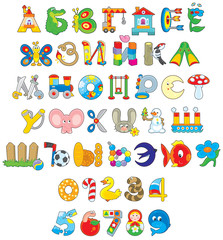 Russian alphabet and numerals with toys