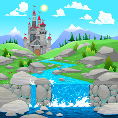 Poster Turquoise Mountain landscape with river and castle.
