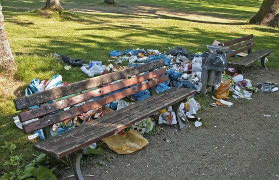 Garbage at park bench
