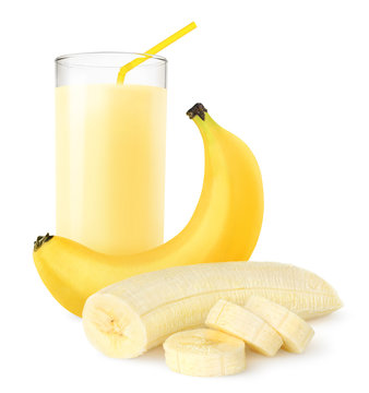 Isolated fruit drink. Fresh banana shake in a glass and banana pieces isolated on white background