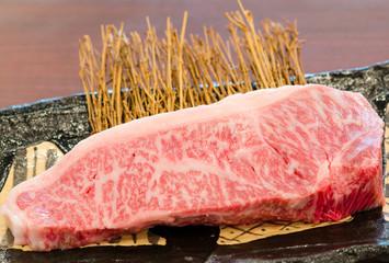 Close up marbled on fresh  Japanese Kobe Matsusaka beef