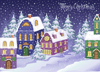 Winter Christmas landscape with snowy houses