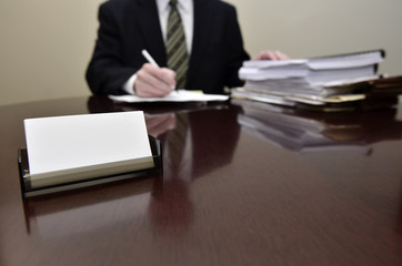 Blank Business Card and Businessman