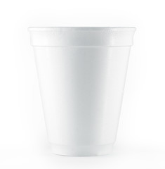 styrofoam disposable white cup isolated on a white background