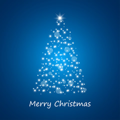 Christmas tree from stars on blue background