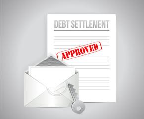 debt settlement approved concept illustration
